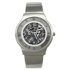 Panic At The Disco Lyric Quotes Retina Ready Stainless Steel Watch by Onesevenart