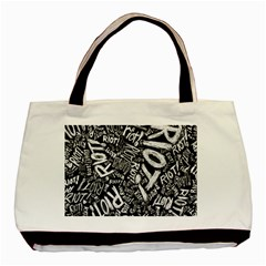 Panic At The Disco Lyric Quotes Retina Ready Basic Tote Bag by Onesevenart