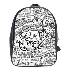 Panic! At The Disco Lyric Quotes School Bag (large) by Onesevenart