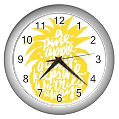 Cute Pineapple Yellow Fruite Wall Clocks (silver)  by Mariart