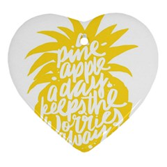 Cute Pineapple Yellow Fruite Heart Ornament (two Sides) by Mariart