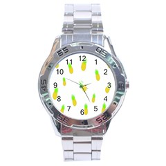 Cute Pineapple Fruite Yellow Green Stainless Steel Analogue Watch by Mariart