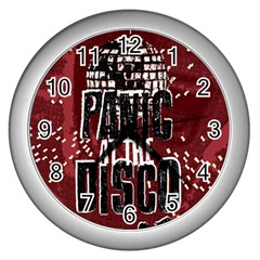 Panic At The Disco Poster Wall Clocks (silver)  by Onesevenart
