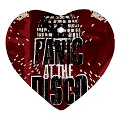 Panic At The Disco Poster Heart Ornament (two Sides) by Onesevenart