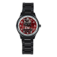 Panic At The Disco Poster Stainless Steel Round Watch by Onesevenart