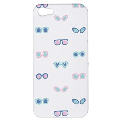 Cute Sexy Funny Sunglasses Kids Pink Blue Apple Iphone 5 Hardshell Case by Mariart