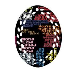 Panic At The Disco Northern Downpour Lyrics Metrolyrics Ornament (oval Filigree) by Onesevenart