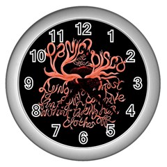 Panic At The Disco   Lying Is The Most Fun A Girl Have Without Taking Her Clothes Wall Clocks (silver)  by Onesevenart