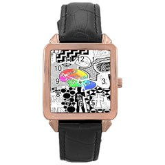 Panic ! At The Disco Rose Gold Leather Watch  by Onesevenart