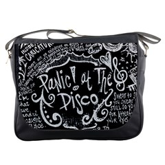 Panic ! At The Disco Lyric Quotes Messenger Bags by Onesevenart