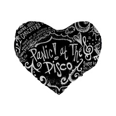 Panic ! At The Disco Lyric Quotes Standard 16  Premium Heart Shape Cushions by Onesevenart