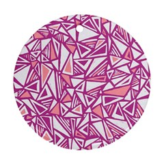 Conversational Triangles Pink White Ornament (round)