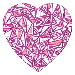 Conversational Triangles Pink White Jigsaw Puzzle (heart) by Mariart