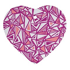 Conversational Triangles Pink White Heart Ornament (two Sides) by Mariart