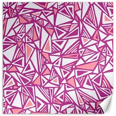Conversational Triangles Pink White Canvas 20  X 20   by Mariart