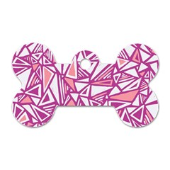 Conversational Triangles Pink White Dog Tag Bone (two Sides) by Mariart
