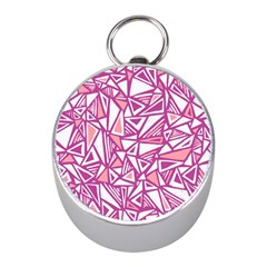 Conversational Triangles Pink White Mini Silver Compasses by Mariart