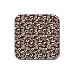 Dried Leaves Grey White Camuflage Summer Rubber Coaster (square)  by Mariart