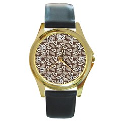 Dried Leaves Grey White Camuflage Summer Round Gold Metal Watch by Mariart