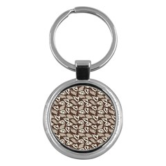 Dried Leaves Grey White Camuflage Summer Key Chains (round)  by Mariart