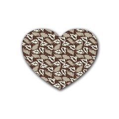 Dried Leaves Grey White Camuflage Summer Rubber Coaster (heart)  by Mariart