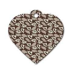 Dried Leaves Grey White Camuflage Summer Dog Tag Heart (one Side) by Mariart