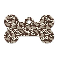 Dried Leaves Grey White Camuflage Summer Dog Tag Bone (one Side) by Mariart