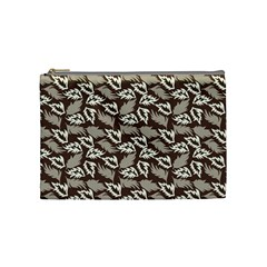 Dried Leaves Grey White Camuflage Summer Cosmetic Bag (medium)  by Mariart