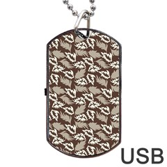 Dried Leaves Grey White Camuflage Summer Dog Tag Usb Flash (one Side) by Mariart