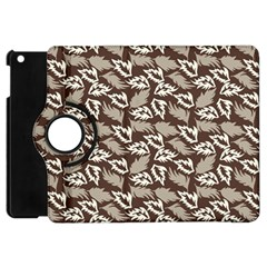 Dried Leaves Grey White Camuflage Summer Apple Ipad Mini Flip 360 Case by Mariart