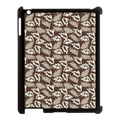 Dried Leaves Grey White Camuflage Summer Apple Ipad 3/4 Case (black) by Mariart
