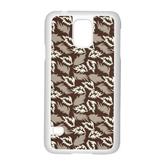 Dried Leaves Grey White Camuflage Summer Samsung Galaxy S5 Case (white) by Mariart