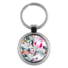 Flower Graphic Pattern Floral Key Chains (round)  by Mariart