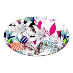 Flower Graphic Pattern Floral Oval Magnet by Mariart