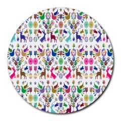 Birds Fish Flowers Floral Star Blue White Sexy Animals Beauty Rainbow Pink Purple Blue Green Orange Round Mousepads by Mariart