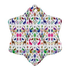 Birds Fish Flowers Floral Star Blue White Sexy Animals Beauty Rainbow Pink Purple Blue Green Orange Ornament (snowflake) by Mariart