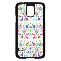 Birds Fish Flowers Floral Star Blue White Sexy Animals Beauty Rainbow Pink Purple Blue Green Orange Samsung Galaxy S5 Case (black) by Mariart