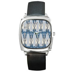 Flower Floral Leaf Beauty Art Square Metal Watch by Mariart