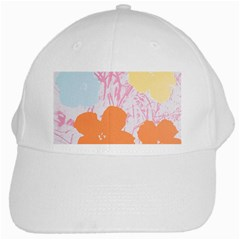 Flower Sunflower Floral Pink Orange Beauty Blue Yellow White Cap by Mariart