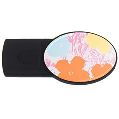 Flower Sunflower Floral Pink Orange Beauty Blue Yellow Usb Flash Drive Oval (4 Gb) by Mariart