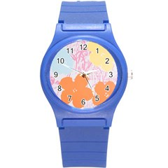 Flower Sunflower Floral Pink Orange Beauty Blue Yellow Round Plastic Sport Watch (s) by Mariart