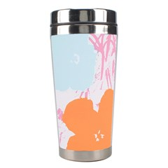 Flower Sunflower Floral Pink Orange Beauty Blue Yellow Stainless Steel Travel Tumblers by Mariart