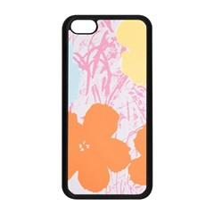 Flower Sunflower Floral Pink Orange Beauty Blue Yellow Apple Iphone 5c Seamless Case (black) by Mariart