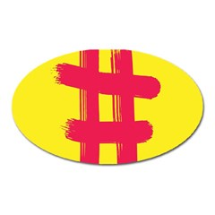 Fun Ain t Gone Fence Sign Red Yellow Flag Oval Magnet by Mariart