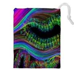 Aurora Wave Colorful Space Line Light Neon Visual Cortex Plate Drawstring Pouches (xxl) by Mariart