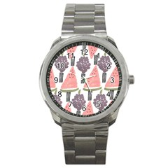 Grapes Watermelon Fruit Patterns Bouffants Broken Hearts Sport Metal Watch by Mariart
