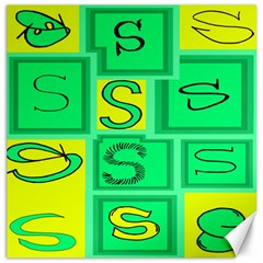 Letter Huruf S Sign Green Yellow Canvas 16  X 16   by Mariart