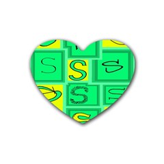 Letter Huruf S Sign Green Yellow Rubber Coaster (heart)  by Mariart