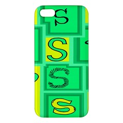 Letter Huruf S Sign Green Yellow Iphone 5s/ Se Premium Hardshell Case by Mariart
