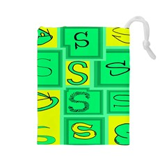 Letter Huruf S Sign Green Yellow Drawstring Pouches (large)  by Mariart
